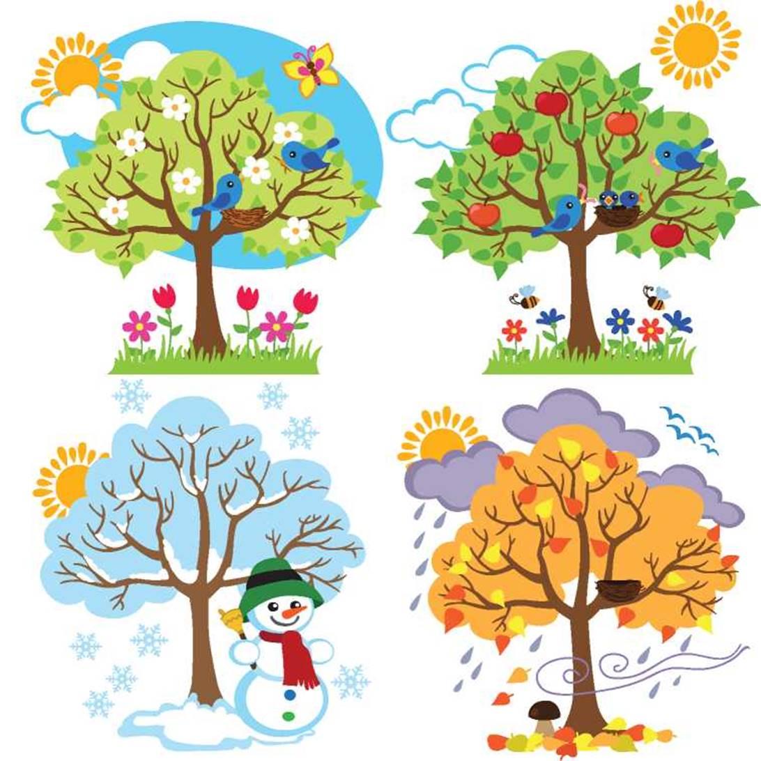 только картинки деревьев в разные времена года совсем